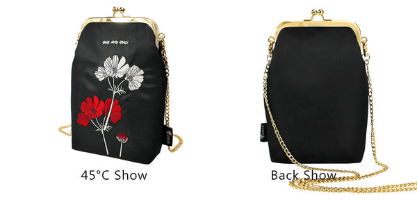 Flower Princess Original Designer Women Crossbody Bag Embroidery Chain Shoulder Bags Ladies Nylon Bag Lady Clip Small Handbag