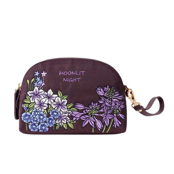 Flower Princess Embroidery Women Handbags Nylon with Genuine Leather Shell Bag Female Small Clutch Bags Purse Phone Bag