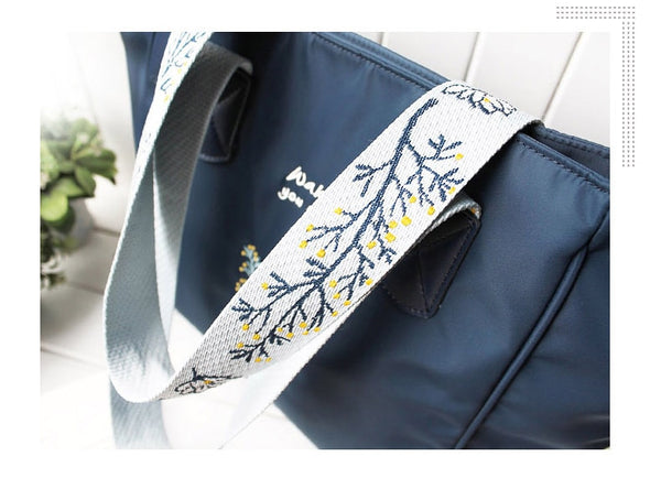 Flower Princess Casual Tote Shoulder Bag Women Bags for Women Wide Strap Embroidery Shoulder Handbags Nylon Female Bag