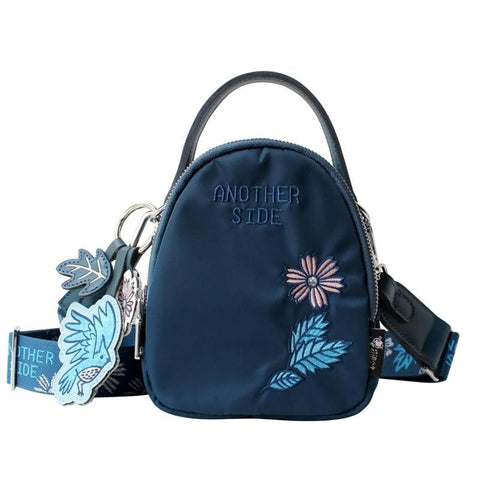 Flower Princess Embroidery Women Shoulder Bag Wide Strap Mini Messenger Bag Ladies Crossbody Bags Female Handbags