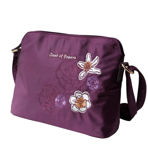 Flower Princess Brand Women Embroidery Floral Shell Bags Girl Nylon Messenger Crossbody Shoulder Bag