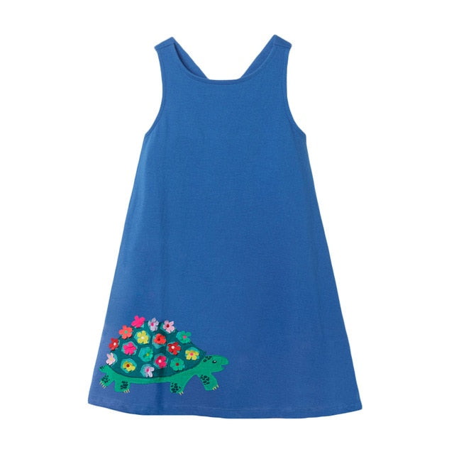 New summer baby girls clothes brand dress kids cotton animal applique sleeveless flower sundress