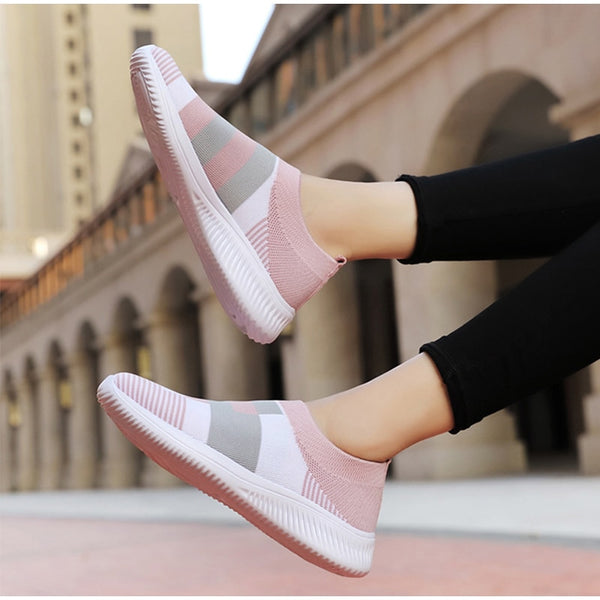 Women Casual Sneakers Knitted Loafers Sock Vulcanized Shoes Woman Female Stretch Flat Slip On Ladies Walking Plus Size
