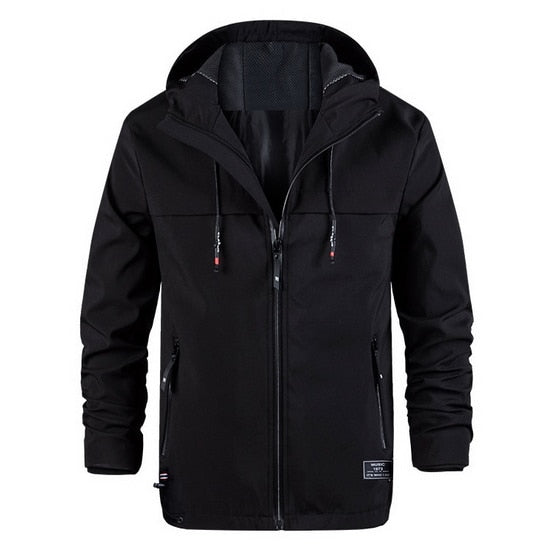 Men's Spring/Autumn Hooded Jacket Men Stretch Windbreakers Jacket Mens Casual Coat Male Black Softshell Jackets