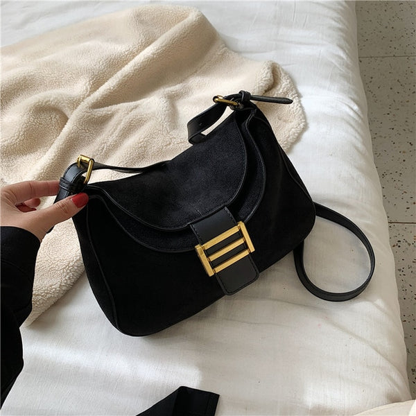 Crossbody Bag for women Fashion Small Shoulder Bags Suede Leather bag New designer bolsas /Black