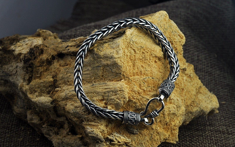 4MM 5MM Thai Silver Male Bracelets 100% 925 Sterling Silver Snake Chain Bracelet for Men Vintage Style Fine Jewelry