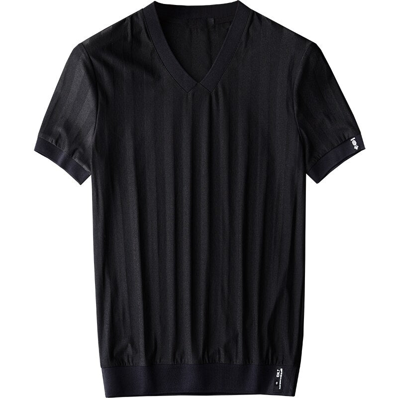 Summer Thin Rib V-neck Men's T-shirts New Arrival Slim Dark Grain Fabric Short Sleeve Men's T-shirts