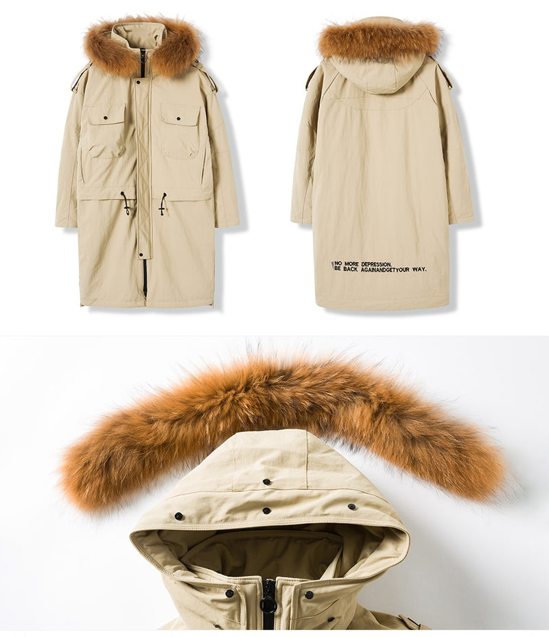 Long Thick 90% White Duck Down Men Winter Warm Hooded Parkas Detachable Raccoon Fur Down Coats