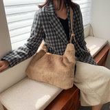 Luxury Faux Fur Bags For Women White Handbag Winter Soft Plush Pink Shoulder Bag Fashion Female Tote Bag