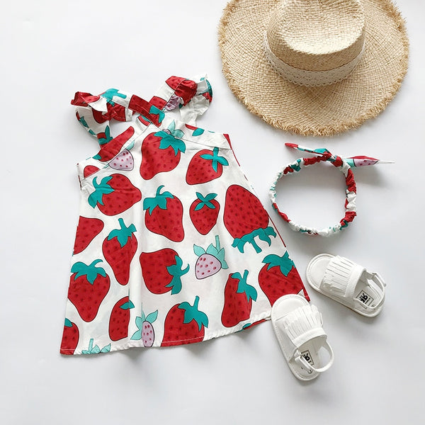 Kids Baby Girls Dress + Headband Summer Cute Strawberry Print Dress 2pcs Outfits Set Clothes For 1-6Y