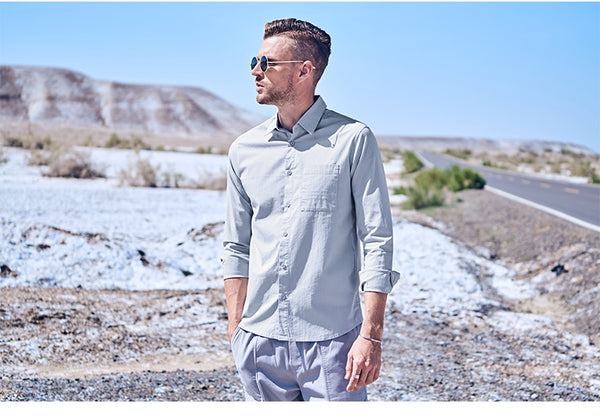 Autumn Winter Men Casual Shirts Long Sleeve Turn Down Collar Shirt Clothes