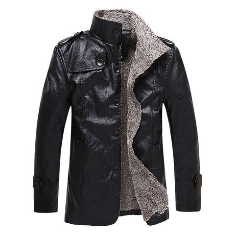 New Winter Men's Leather Jackets Stand Collar Long Coats Men Windbreaker Fleece PU Leather Male Jacket outwear
