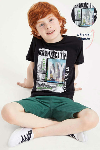 Boy Summer Cool Black Knitted Top Tees Casual Short Sleeve Print Cotton T-Shirt For Boys