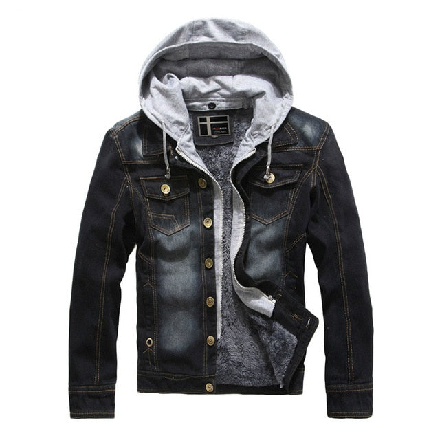 Winter Men Thickened Fur Lining Casual Men Cowboy Jacket Denim Jean Jackets Detachable Hood Hip Hop Goth work