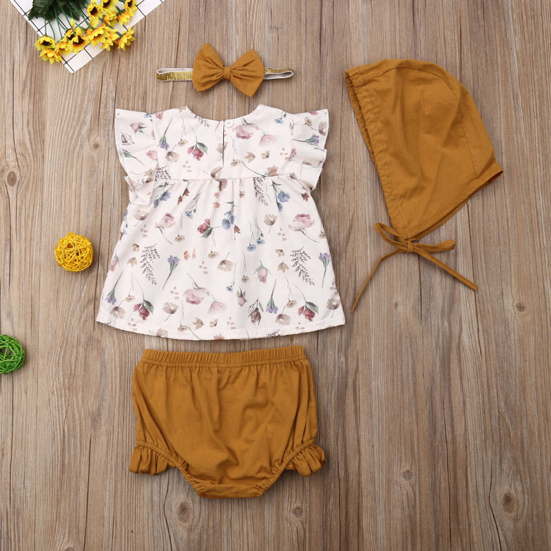 Summer Sleeveless Floral Top T-shirt Shorts Headband Hat Outfit 4PCs Newborn Infant Kids Toddler Baby Girls Clothes Set