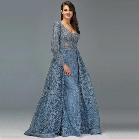 Blue Luxury Long Sleeves Evening Dresses V-Neck Handmade Flowers Crystal Sexy Evening Gowns