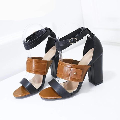 Summer Women's Sandals Ankle Strap Mixed Color Woman High Heels Shoe Women Open Toe Fashion Ladies Cover Heels Sandals