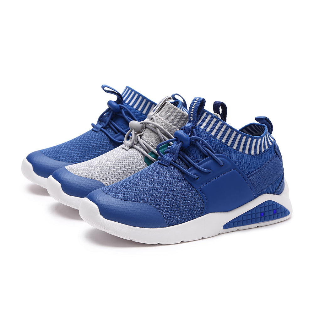 Children Kids Boys Shoes Lace up Sneakers with Stretchy Knit Upper Toddler Breathable Lightweight Running Shoes