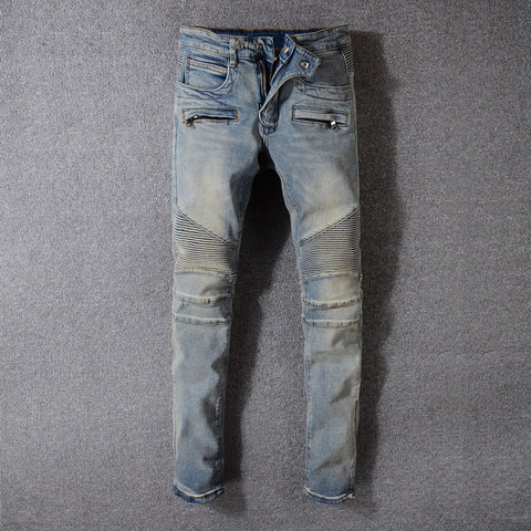European High Street Men Jeans Retro Washed Zipper Pockets Denim Cargo Pants hombre American Streetwear Biker Jeans Men