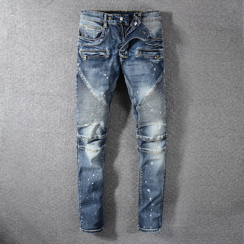 European American Fashion Men Jeans Retro Washed Paint Printed Jeans Men Slim Fit Spliced Designer Denim Cargo Pants Biker Jeans