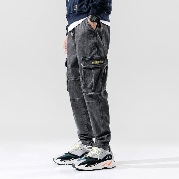 Streetwear Men Jeans High Quality Gray Loose Fit Big Pocket Denim Cargo Pants Hombre Harem Trousers Hip Hop Jeans Men