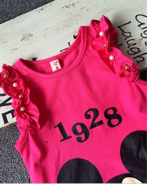Summer Baby Girls Mickey Minnie Clothing Kids Girls Cartoon Sleeve T-shirt +Shorts 2PCS Set New Girls Cute Print Costume