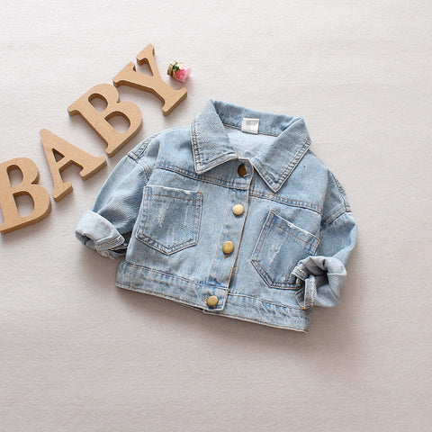 Denim Jacket Children Kids Fashion Cowboy Coat Leisure Clothes For Boys Girls Autumn Winter Outerwear Baby Casual Jean Coats