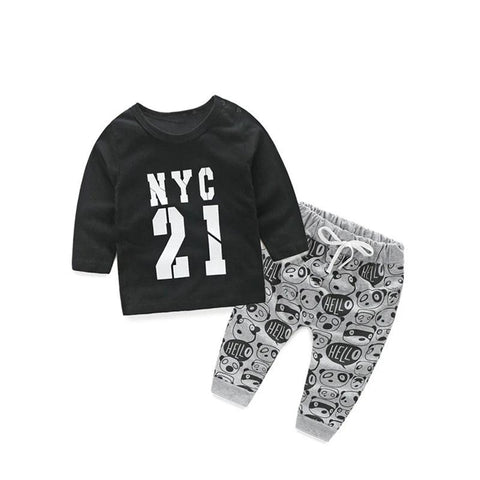 New Children's Clothing Sets Boys Digital Top Panda Print Pants Two-Piece Set Baby Cute Home Service Toddler Letter Clothes