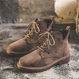 Vintage Cow Suede Women Shoes Fashion Casual Ankle Boots Autumn Winter Wedges Outdoor Warm Work Boots Chelsea Boots