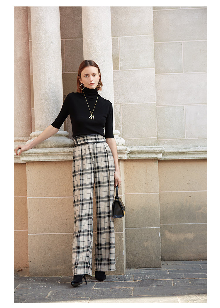wool blend Wide Leg Pants Women Early spring High Waist Casual Loose Full Length Pants Elegant plaid Trousers