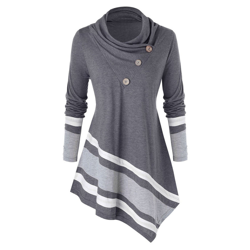 Turtleneck Blouse Casual Winter Ladies Striped Tunic Tops Female Women's Long Sleeve Shirt Blusas Pullover