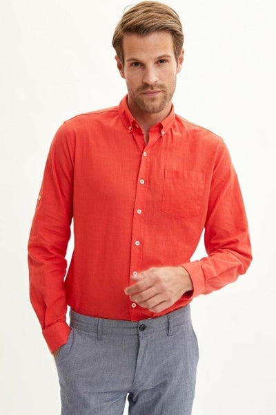 Man Autumn Solid Color Top Shirts Men Blue Red Color Shirts Male Smart  Casual Long Sleeve Shirt