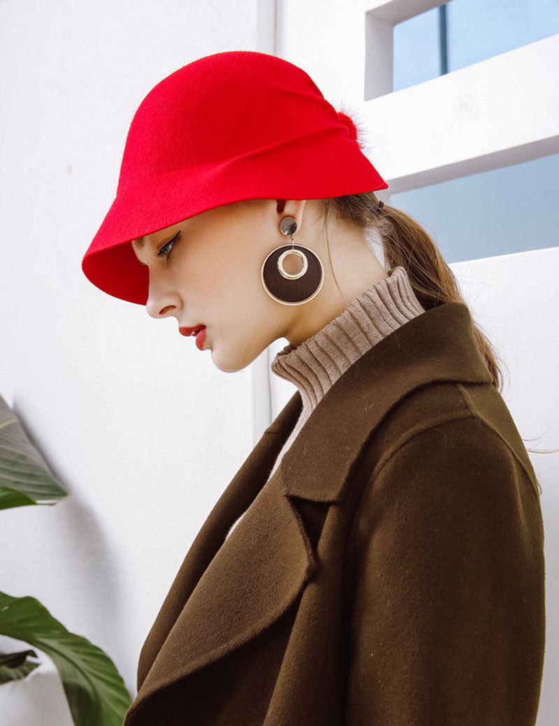 High Quality Female Bucket Hat Hairball Ultra thin Wool Felt Fedoras Hats for Women Foldable