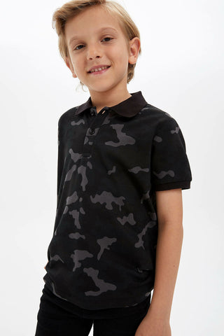 Boy Camouflage Pattern T-Shirt Kids Lapel Casual Short Sleeves Tops Boys Comfort Sport Tee Summer
