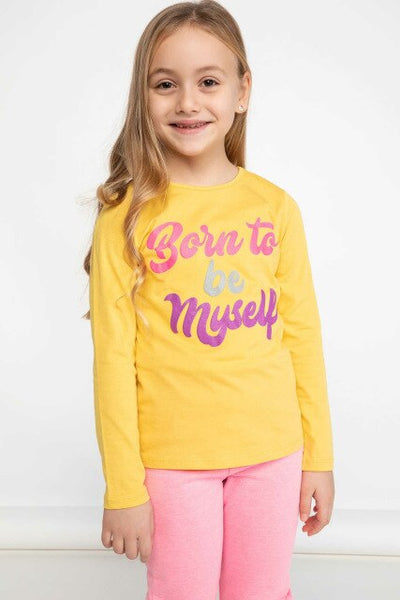 Girl Spring Lovely Cotton Top Tees Kids Yellow T-Shirts Girls Casual Letter Prints Long Sleeve Body T-Shirts