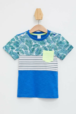Summer Boys Fashion Crewneck Tops Kids Casual Striped Print Short Sleeves T-shirt Boys Cotton Sportshirt -