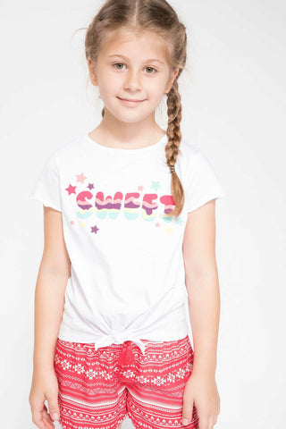 Lovely Girls Fashion O-neck Short Sleeve Kids Casual Letter Pattern Cute Tops Girl Comfort White T-shirt