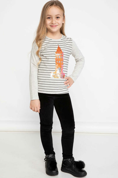 Girl Spring Black Striped White T-Shirts Kids Sequins Decors Top Tees Girls Long Sleeve Body Tshirt