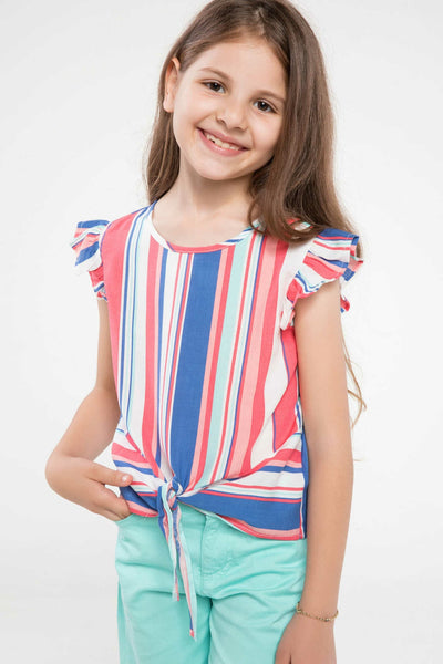 Girl O-neck Short Sleeve Lovely Kids Casual Striped T-shirt Girls Leisure Loose Tee Lovely Summer