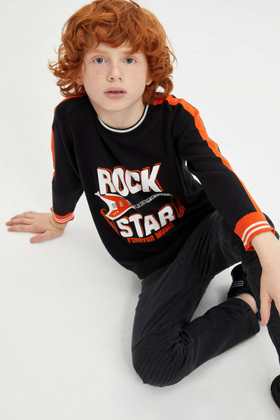 Autumn Boy O-neck Pullover Boys Long Sleeves Letter Pattern Tops Kids Casual Loose Sweaters