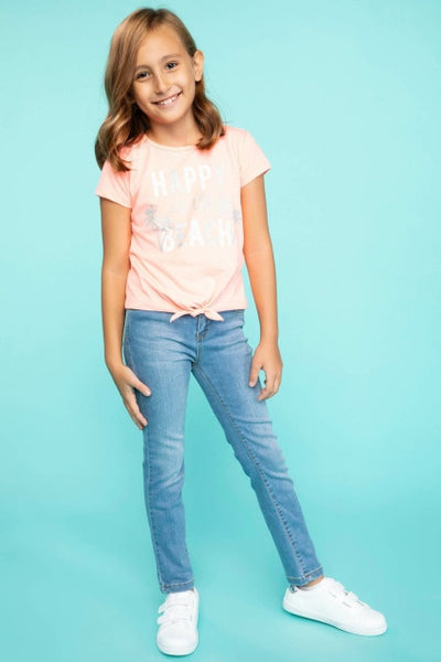 Girl Casual Straight Blue Denim Jeans Trousers Kids Mid-waist Washed Denim Pants High Quality