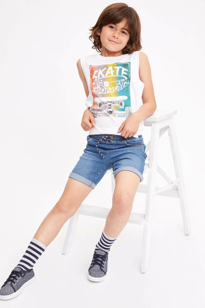 Summer Boy Fashion O-neck Vest Boys Casual Letter Pattern T-shirt Kids Cotton Sleeveless Tops Summer