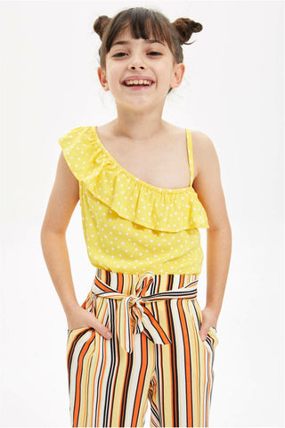 Summer Girl Fashion Short Sleeve Tops Kids Wave Dot Casual Ruffles Off-shoulder T-shirt Yellow