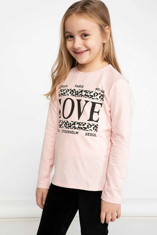 DeFacto Autumn Girl O-neck Long Sleeve Kids Casual Letter Pattern Lovely T-shirt Girls Comfort Tops New - K4535A619SP