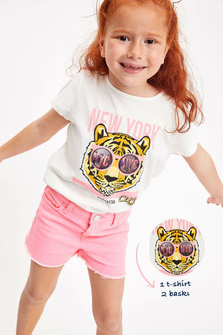 Summer Girl Fashion Short Sleeve Kids Casual O-neck Lovely Cartoon Pattern Tops Girls Comfort T-shirt White