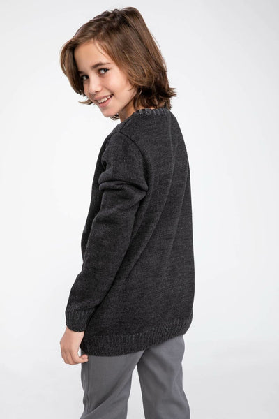 Boys O-neck Fashion Hi Letter Pattern Knitted Sweater Casual Loose Sweater Autumn Boys New