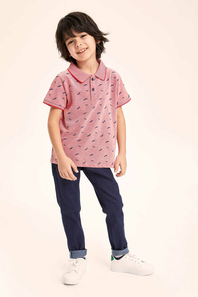 Boy Lapel T-Shirt Kids Casual Cute Pattern Loose Short Sleeves Boys Comfort Tops Summer -