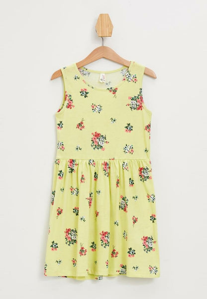 New Girl Fashion O-neck Dress Simple Casual Kids Sleeveless Pleated Dresses Floral Summer New