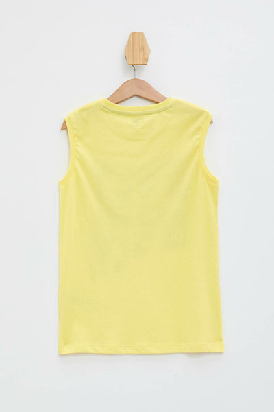 DeFacto Summer Boy O-neck Vest Kids Fashion Casual Cartoon Pattern Tank Boys Tops Sport Comfort New Yellow - K6701A619SM