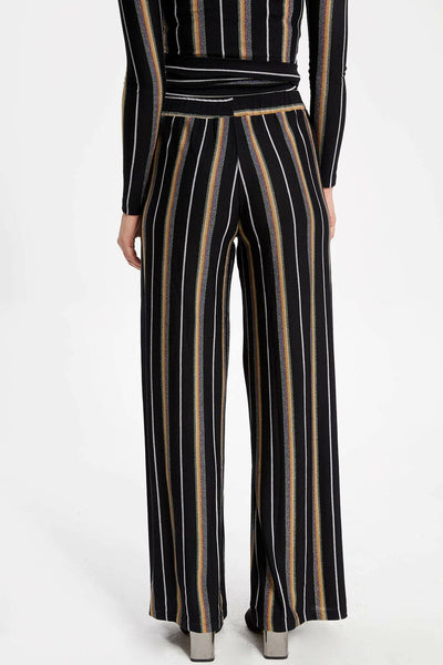 Woman Casual Striped Long Pants Women Wide-leg Black Loose Pants Female Straight Bottoms Trousers